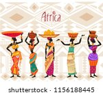 beautiful black african woman... | Shutterstock .eps vector #1156188445