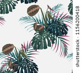 tropical pink palms leaves and... | Shutterstock .eps vector #1156200418