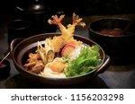 nabeyaki udon  japanese hot pot ...   Shutterstock . vector #1156203298