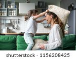 mommy and kid daughter having... | Shutterstock . vector #1156208425