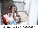 businesswoman working from home ... | Shutterstock . vector #1156209472