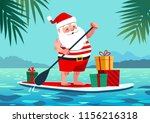 cute santa claus in shorts and... | Shutterstock .eps vector #1156216318