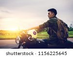 Biker Man And Motorcycle With...
