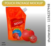 red pouch ketchup package... | Shutterstock .eps vector #1156237948