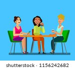 three girls sitting at a table... | Shutterstock .eps vector #1156242682