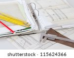 architectural plans of the old... | Shutterstock . vector #115624366