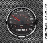 speedometer on metal perforated ... | Shutterstock .eps vector #1156253245