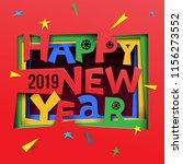 creative happy new year 2019... | Shutterstock .eps vector #1156273552