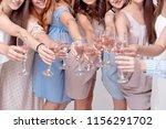 happy girls having fun drinking ... | Shutterstock . vector #1156291702