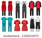 set of overalls with worker and ...