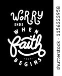 hand lettered worry ends when... | Shutterstock .eps vector #1156323958