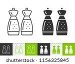 salt pepper shaker black linear ... | Shutterstock .eps vector #1156325845