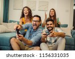 portrait of group of friends... | Shutterstock . vector #1156331035