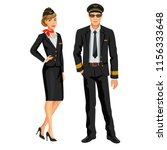 airline crew  stewardess and... | Shutterstock .eps vector #1156333648