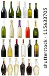 Many Bottles Wine White Background - Fine Art prints