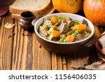 beef stew with pumpkin  peas... | Shutterstock . vector #1156406035