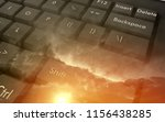 keyboard at the sunset with... | Shutterstock . vector #1156438285