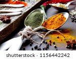 spices for cooking with kitchen ... | Shutterstock . vector #1156442242