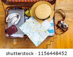 woman staff in suitcase. travel ... | Shutterstock . vector #1156448452