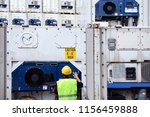 reefer technician is monitoring ... | Shutterstock . vector #1156459888