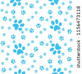 turquoise paws pattern  paw... | Shutterstock .eps vector #1156473118