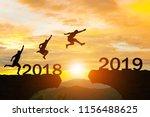 happy new year 2019 men jump... | Shutterstock . vector #1156488625