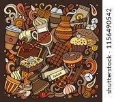 cartoon vector doodles coffee... | Shutterstock .eps vector #1156490542
