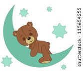 teddy bear sleeping on a moon | Shutterstock .eps vector #115654255