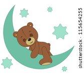 teddy bear sleeping on a moon | Shutterstock .eps vector #115654255
