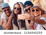 group of friends having good... | Shutterstock . vector #1156543255