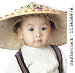 Korean Baby In A Straw Hat