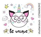 funny cat unicorn head wiht... | Shutterstock .eps vector #1156606342