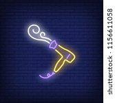 hairdryer blowing hot air neon... | Shutterstock .eps vector #1156611058