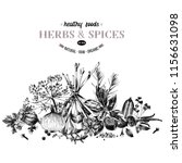 hand drawn border with herbs...   Shutterstock .eps vector #1156631098