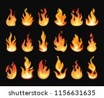 set of isolated orange fire or... | Shutterstock .eps vector #1156631635