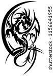 dragon black tribal tattoo on...   Shutterstock .eps vector #1156641955