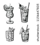 alcohol cocktail hand drawn... | Shutterstock .eps vector #1156647835
