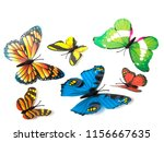 Stock photo  butterflies isolated on white with soft shadow beneath each 1156667635