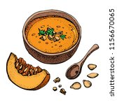 pumpkin cream soup vector... | Shutterstock .eps vector #1156670065