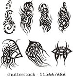 tribal tattoo designs. set of... | Shutterstock .eps vector #115667686