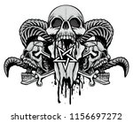 gothic sign with skulls  grunge ... | Shutterstock .eps vector #1156697272