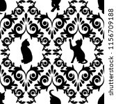 seamless  with black cats and... | Shutterstock . vector #1156709188