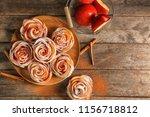 tasty rose shaped apple pastry... | Shutterstock . vector #1156718812