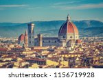 Stock photo santa maria del fiore cathedral in florence italy in summer colourful skyline 1156719928
