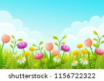 cute cartoon flowers in green... | Shutterstock .eps vector #1156722322