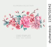 vector nature card pink flowers ... | Shutterstock .eps vector #1156733542