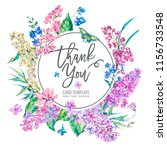 vector vintage floral greeting... | Shutterstock .eps vector #1156733548