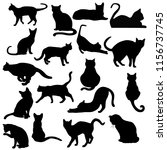 Stock photo silhouette cats in black for illustration 1156737745