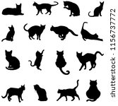 silhouette cats in black for... | Shutterstock . vector #1156737772