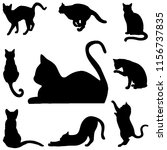Stock photo silhouette cats in black for illustration 1156737835